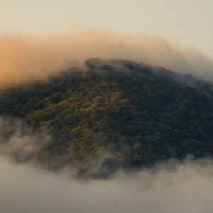 A banner image showing a mountain with fog.